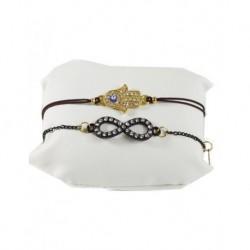 Fatma's Hand Brown Leather Bracelet