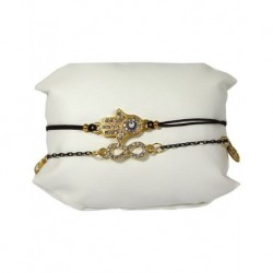Fatma's Hand Leather Bracelet Black