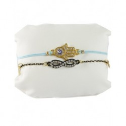 Fatma's Hand Leather Bracelet Light Blue