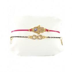 Fatma's Hand Auspicious Double Bracelet Pink