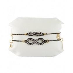 Fatma's Hand Auspicious Double Bracelet Black Chain