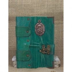 Medium Leather Coated Green Lion Icon Notebook