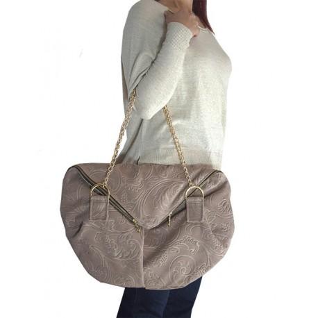 Designed Textured Velvet Half Moon Fashioned Chain Bag