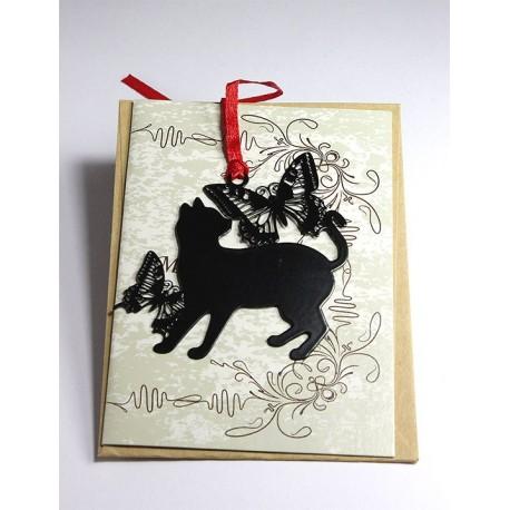 Kitap Ayracı Kelebekli Kedi