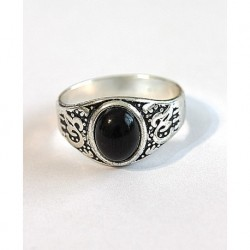 Silver Plated Black Stone Men Ring