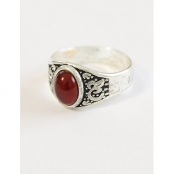 Silver Plated Red Stone Men Ring