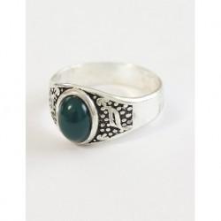 Gümüş Kaplama Erkek Yüzüğü Yeşil Taşlı