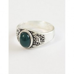 Silver Plated Men Ring Green Stone
