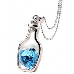 Gümüş Kaplama Şişe Şeklinde Mavi Saworoski Taşlı Kolye