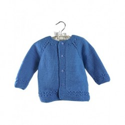 Baby Cardigan In Blue With Nazar Bead Buttons