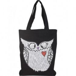 Tasarım Kot Siyah Renk Beyaz Baykuş Baskılı Çanta