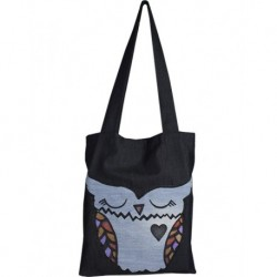 Tasarım Kot Lajivert Renk Mavi Baykuş Baskılı Çanta