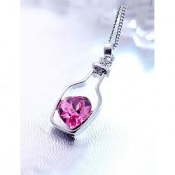 Silver Plated Pink Shape Blue Savaroski Stone Pendant