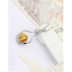 Silver Plated Bottle-Shaped Yellow Swarovski Stone Necklace