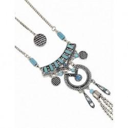 Antik Gümüş Mavi Turkuaz Taşlı Uzun Kolye