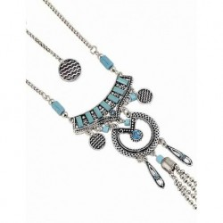 Antique Silver Blue Turquoise Stone Long Necklace