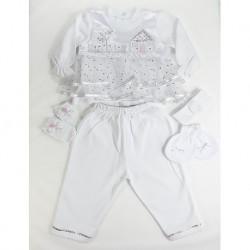 Beyaz Puantiyeli Kız Bebek Seti