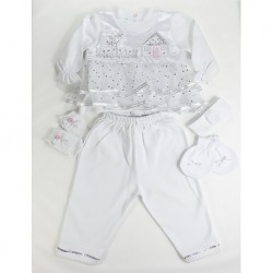 White Dotted Baby Girl Set