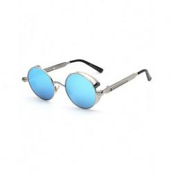 Gothic Steampunk Yuvarlak Mavi Aynalı Metal Çerçeveli Güneş Gözlüğü S886-52-18-138