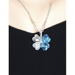 Modeled Crystal Stone Flower Necklace Silver Blue Color