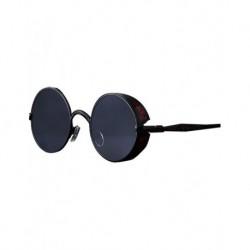 Gothic Steampunk Yuvarlak Siyah Camlı Siyah Metal Çerçeveli Kırmızı Motifli Güneş Gözlüğü C2877-C6-52-18-138