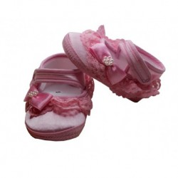 Pink Lace Girl Baby Bootie