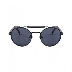 FashionMoon Gothic Model Black Framed Black Glazed Metal Edge Folding Model Unisex Sunglasses