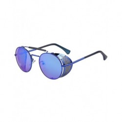 Merry's Gothic Steampunk Blue Framed Blue Mirror Glass Folding Metal Edge Model Unisex Sunglasses