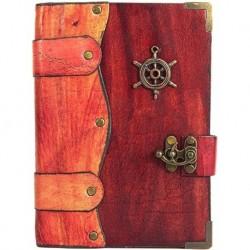 Deri Kaplı Gemi Dümeni Süslemeli Kırmızı Büyük Boy Defter