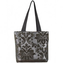 Design on Black Textured Metallic Fabric Bag