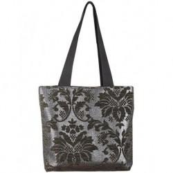 Design on Black Textured Metallic Fabric Bag