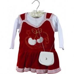 Kırmızı Renk Kız Çocuk Kıyafeti 3'lü Set