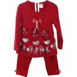 Red Color Girl's Dress kittens 2-Set