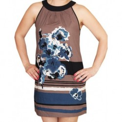 Dress With Brown Blue Flowering Zero