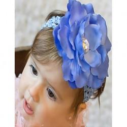 Mavi Renk Çiçekli Bebek Çocuk Saç Bandı