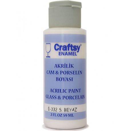 Craftsy Enamel Akrilik Cam Ve Porselen Boyası E-332 S.Beyaz