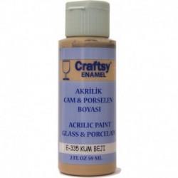 Craftsy Enamel Akrilik Cam Ve Porselen Boyası E-335 Kum Bej