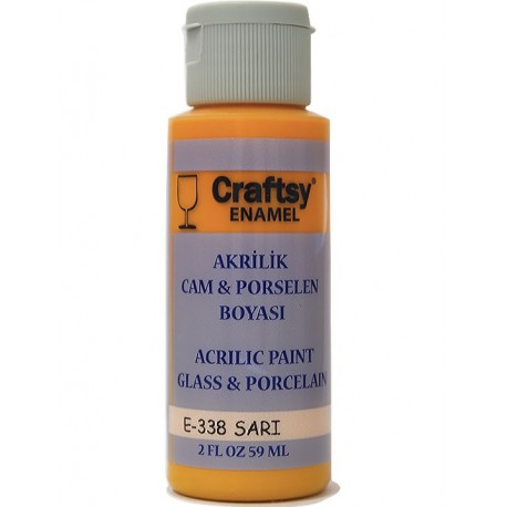 Craftsy Enamel Akrilik Cam Ve Porselen Boyası E-338 Sarı
