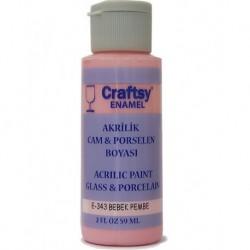 Craftsy Enamel Akrilik Cam Ve Porselen Boyası E-343 Bebek Pembe