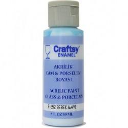 Craftsy Enamel Akrilik Cam Ve Porselen Boyası E-352 Bebek Mavi