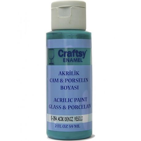 Craftsy Enamel Akrilik Cam Ve Porselen Boyası E-354 Açık Deniz Yeşili