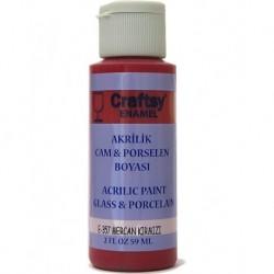 Craftsy Enamel Akrilik Cam Ve Porselen Boyası E-357 Mercan Kırmızı