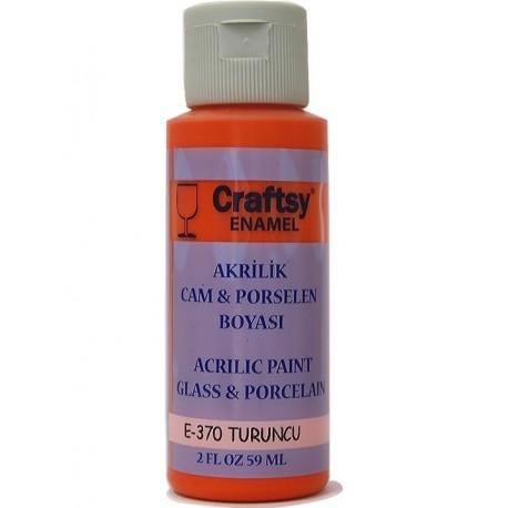 Craftsy Enamel Akrilik Cam Ve Porselen Boyası E-370 Turuncu