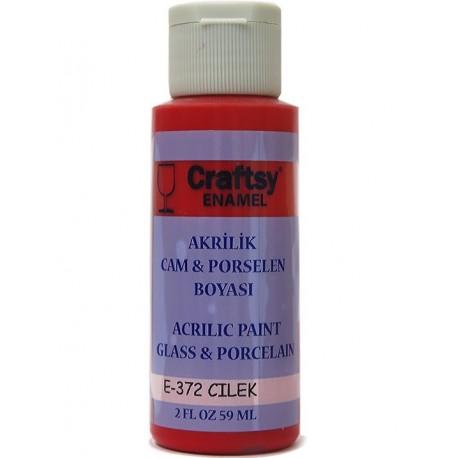 Craftsy Enamel Akrilik Cam Ve Porselen Boyası E-372 Çilek