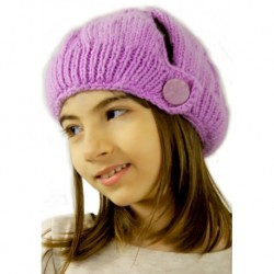 Childrens Knitted Hat In Purple