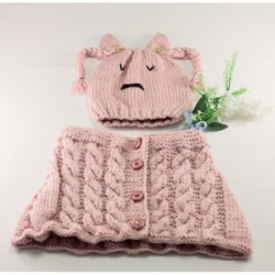 Childrens Knitted Hat Set In Baby Pink