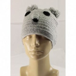 Knitted Hat With Bear Design And Pompom Ears