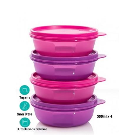 Tupperware Şeker Kaplar 4'lü Set Mor Renk