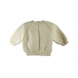 Cream narrow Collar Zippered Cardigan Baby
