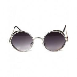 Gothic Steampunk Round Black Motif Design Degrade Glass Silver Metal Framed Sunglasses